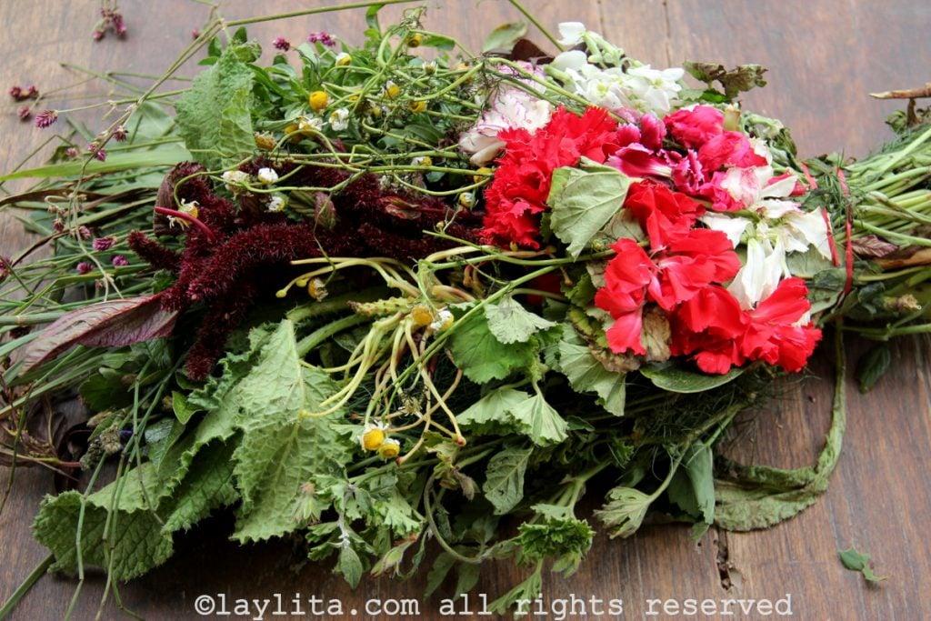 Fresh herbs and flowers for horchata lojana tea