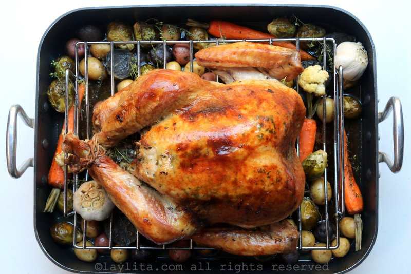 Herb roasted turkey with vegetables