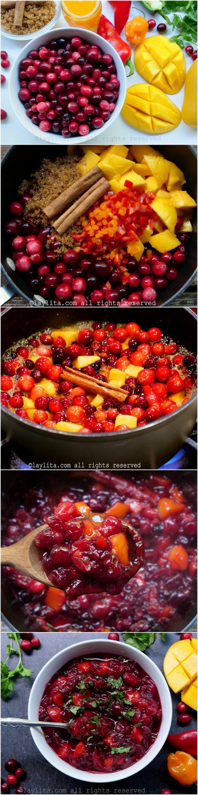 Homemade mango cranberry sauce preparation