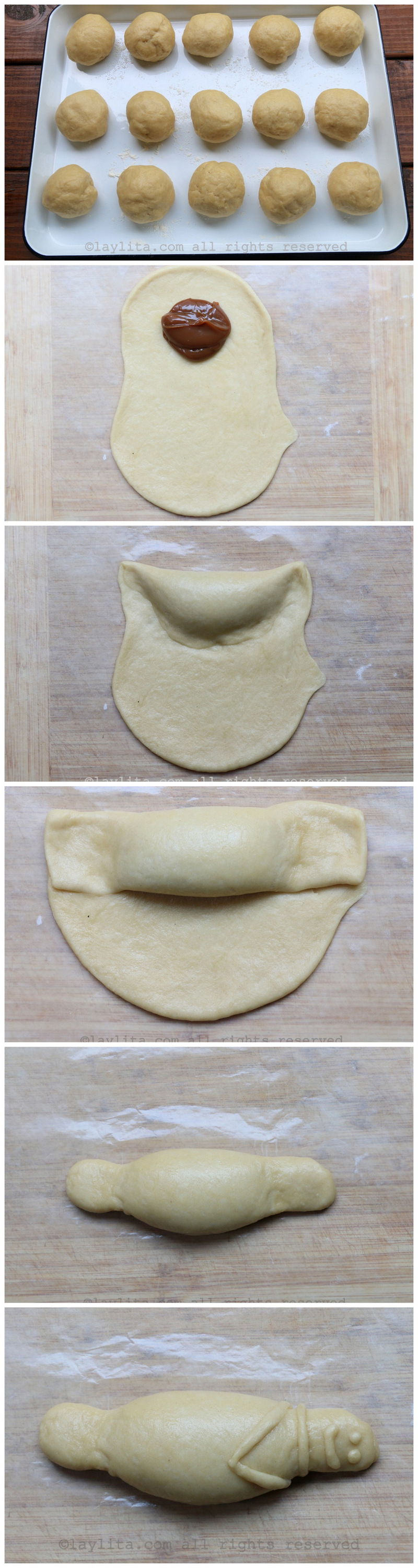 How to make guaguas de pan or bread figures with a filling