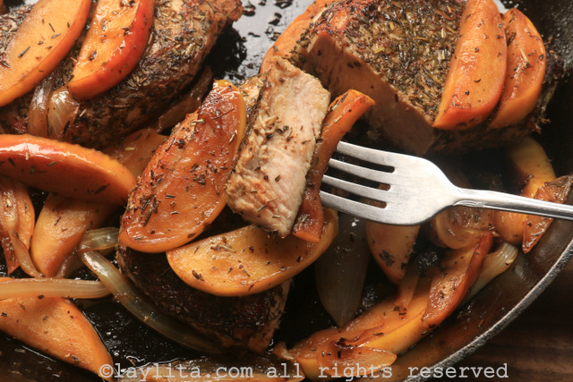 Seared pork chops with caramelized cognac apples