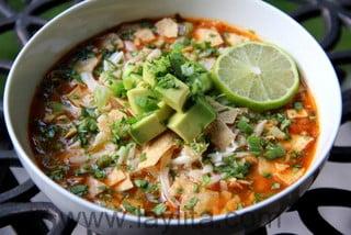 Preparação para Sopa de Tortilla com Frango ou Peru