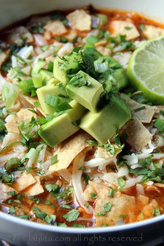 Turkey tortilla soup with avocado