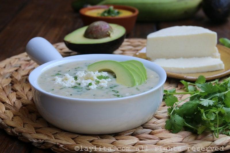 Green banana soup or green plantain soup