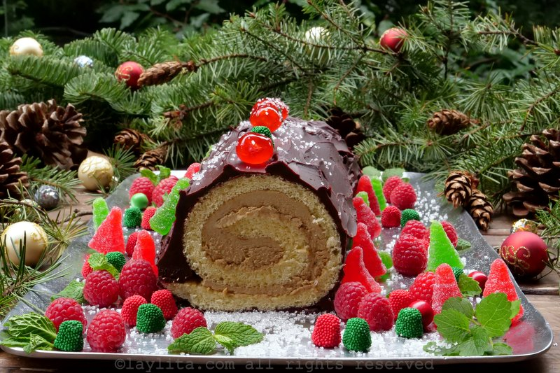 Bûche de Noël or Christmas Yule Log