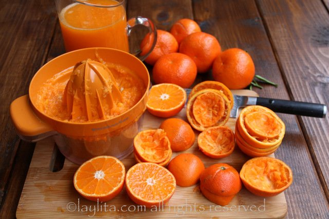 Making mandarin juice for mimosas