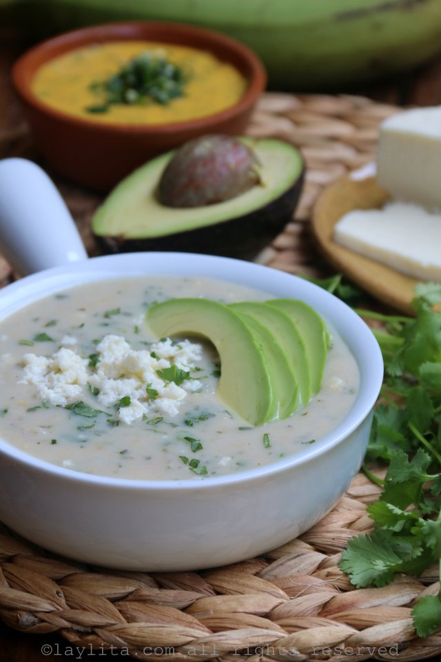 Green banana/plantain soup with avocado and cheese