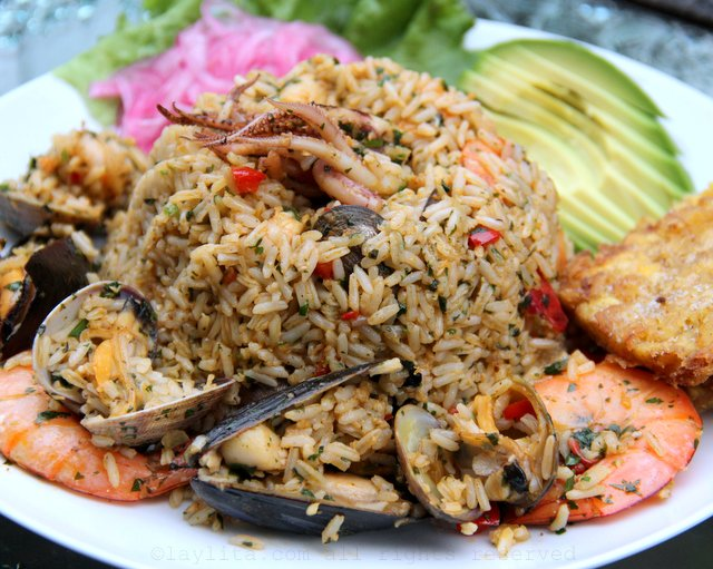 Ecuadorian arroz marinero or seafood rice