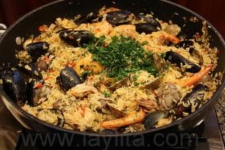 Préparation du riz aux fruits de mer 9