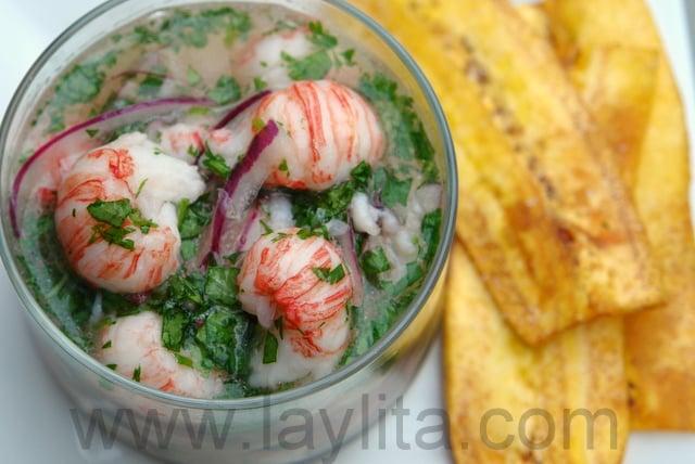 Ceviche de langoustines avec des chifles