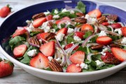 Strawberry, goat cheese, and arugula salad