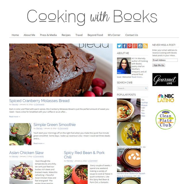 Cooking with Books food blog