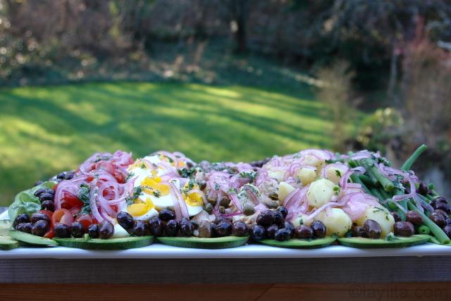 Nicoise salad preparation