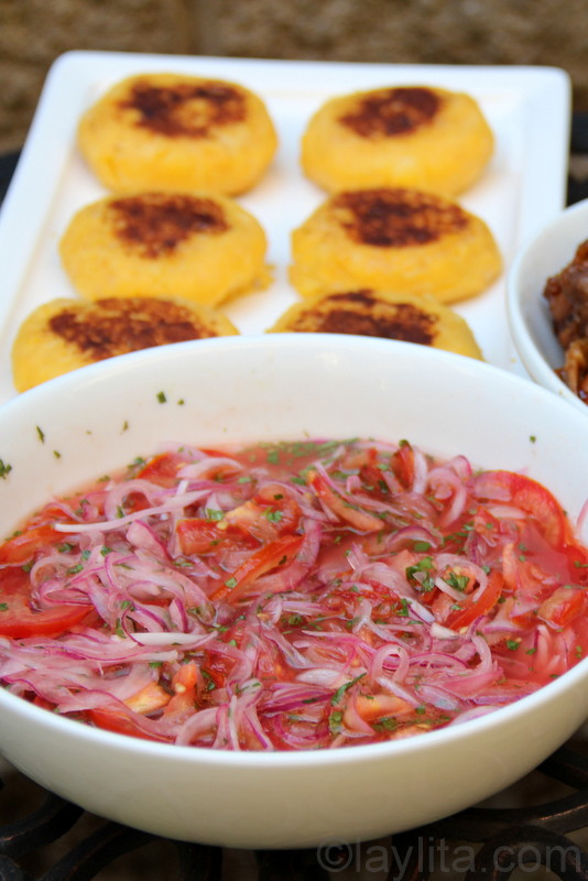 Tomato and onion curtido with llapingachos