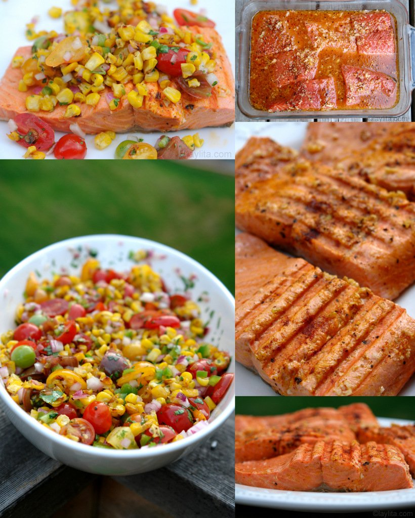 Grilled fish with tomato corn salsa