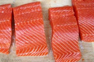 Preparação para salmão grelhado