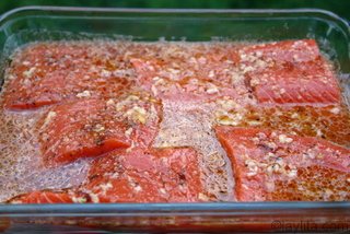 Marinate salmon for at least 30 minutes