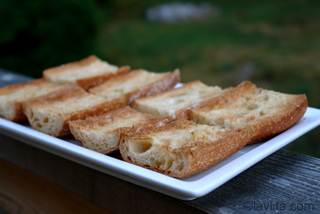 Garlic toast for bruschetta