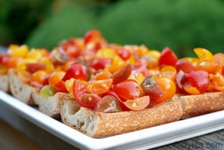 Tomato bruschetta with heirloom cherry tomatoes