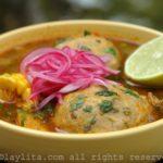 Ecuadorian green plantain dumpling soup {Caldo de bolas de verde}