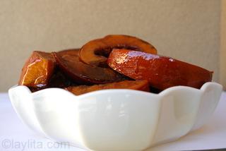 Photos of pumpkin flan preparation