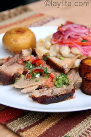 Roasted pork with agrio sauce