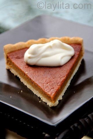Candied pumpkin tart with creme fraiche sauce