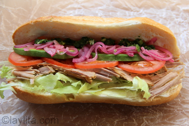 Ecuadorian roasted pork sandwich