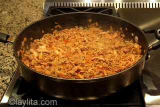3- Add the meats and cook for about 10-12 minutes
