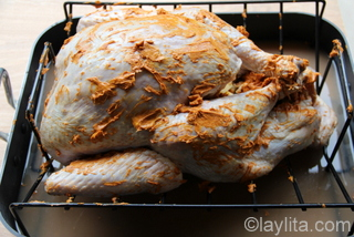 5- Before baking rub the turkey, inside and out, with achiote or annato butter