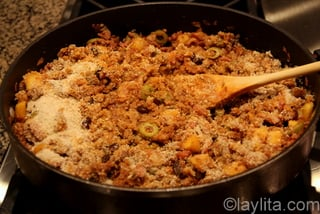 6- Add the bread crumbs and eggs