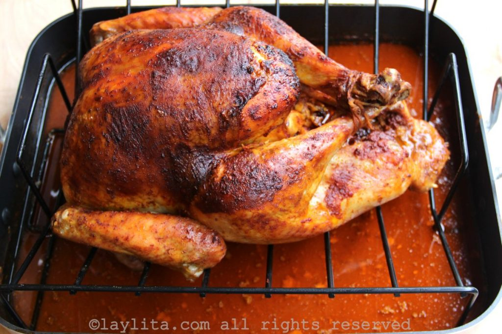 Ecuadorian style turkey marinated with achiote and chicha