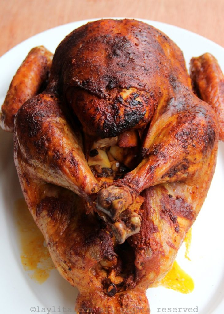 Turkey roasted with an achiote marinade