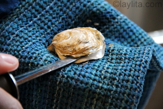 For oyster with a more regular flat shape you can open them on the right side