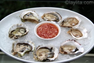 Raw oysters with shallot mignonette sauce