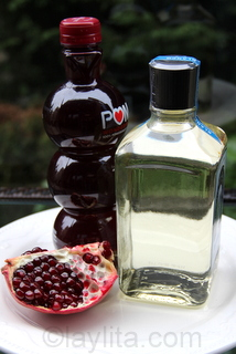 Ingredients for pomegranate cocktail