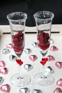 Pomegranate sorbet cocktail for Valentine's days