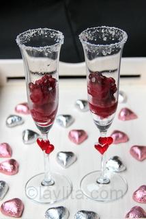 Pomegranate sorbet cocktail for Valentine's days