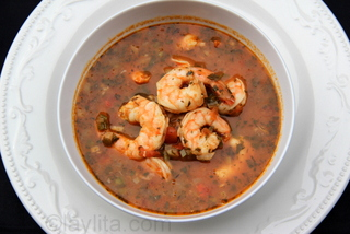 Spicy tex-mex style shrimp soup