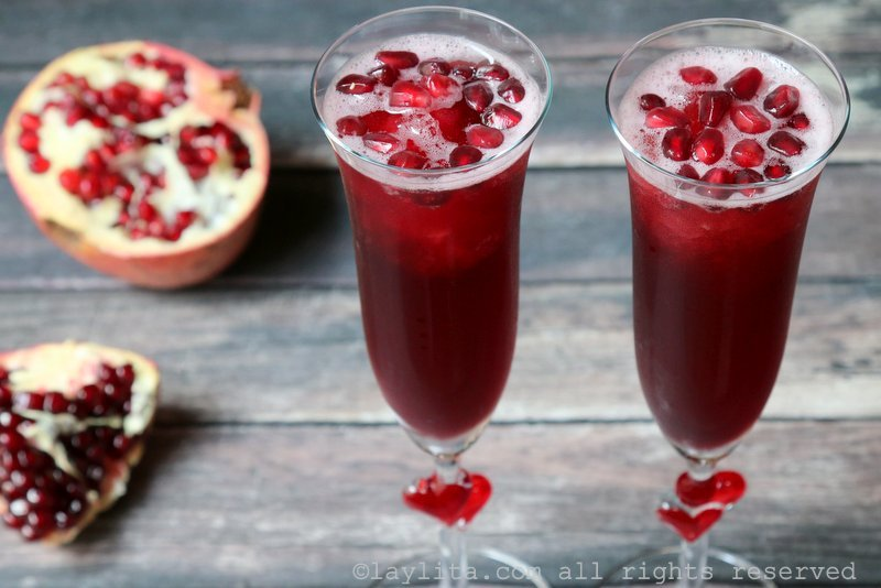 Easy pomegranate cocktail with champagne and tequila