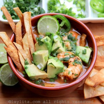 Homemade shrimp tortilla soup recipe