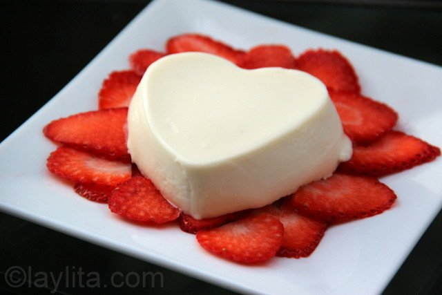 Heart shaped panna cotta for Valentine's day