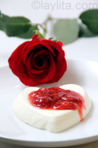 Panna cotta hearts for Valentine's day