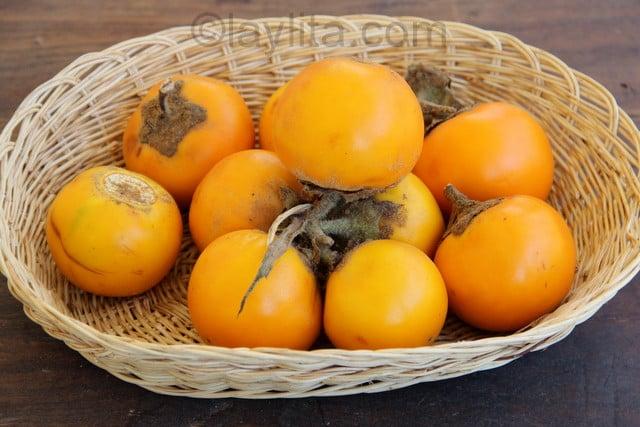 Ripe naranjillas in Ecuador