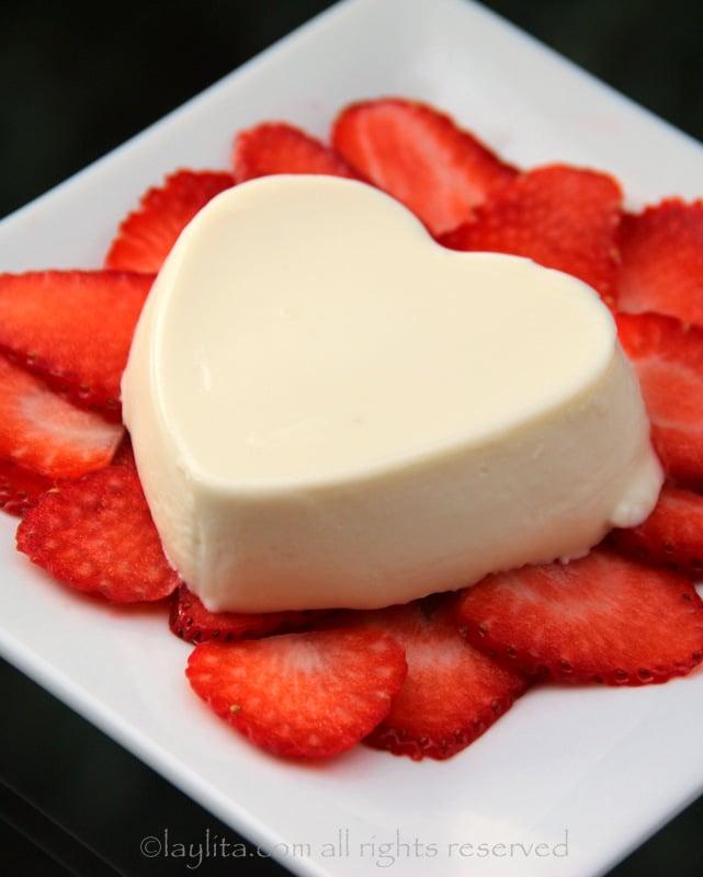 Valentine's Day heart panna cotta