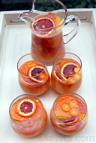 Moscato sangria with citrus fruits