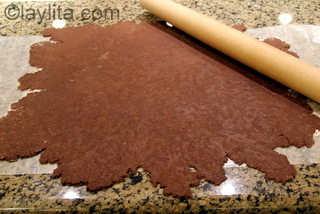 Roll out the chocolate empanada dough into a thin layer