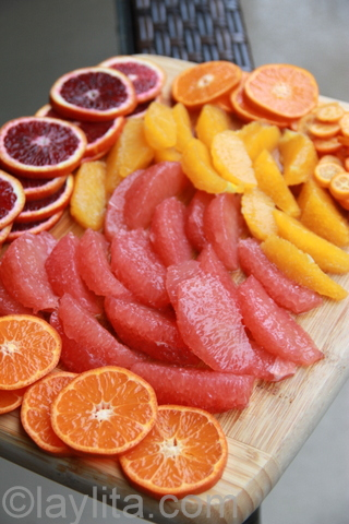 Citrus fruit segments and slices for sangria