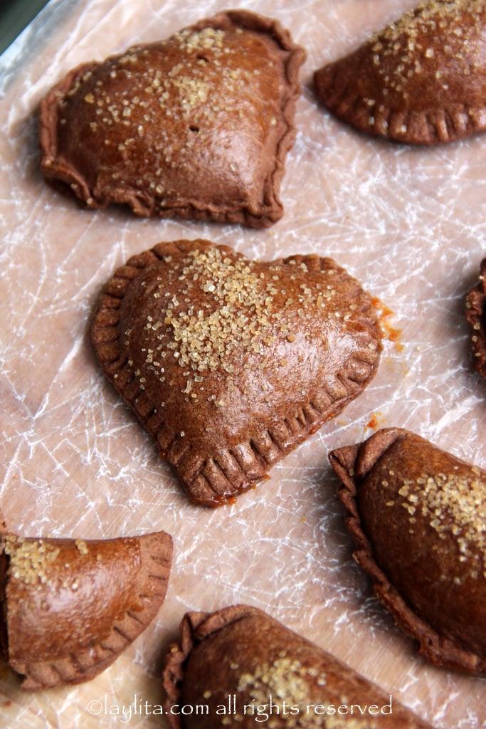 Heart shaped chocolate dulce de leche empanadas