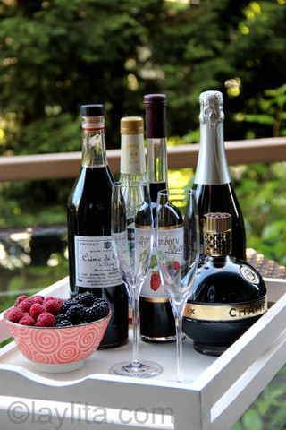A sparkling kir can also be made with different types of fruit or berry liqueurs
